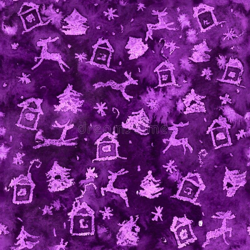 Magisches Weihnachtsblaues oder violettes nahtloses Hintergrundmuster mit Rotwild, Schnee, Baum, Haus und Schneeflocken lizenzfreie stockbilder