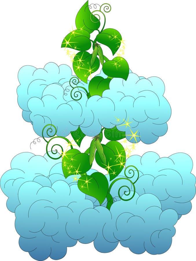 Magisk bönstjälk bland fluffiga moln royaltyfri illustrationer