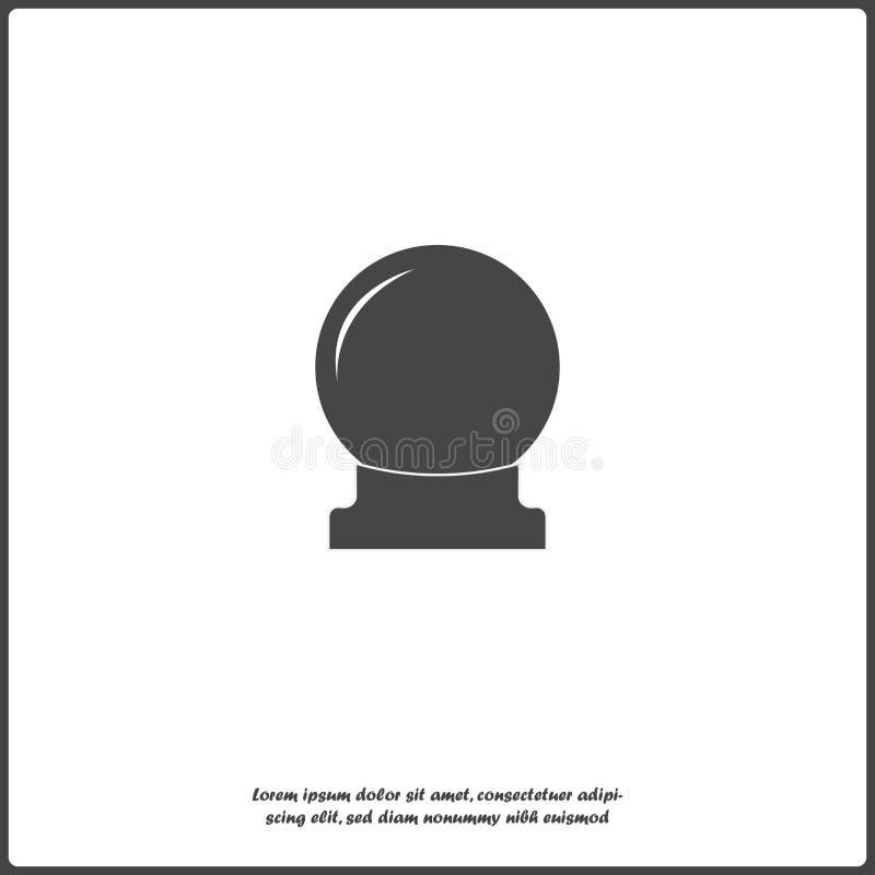 Magisk bollvektorsymbol En isolerad sfär för spådom och magiska ritualer på vitt royaltyfri illustrationer