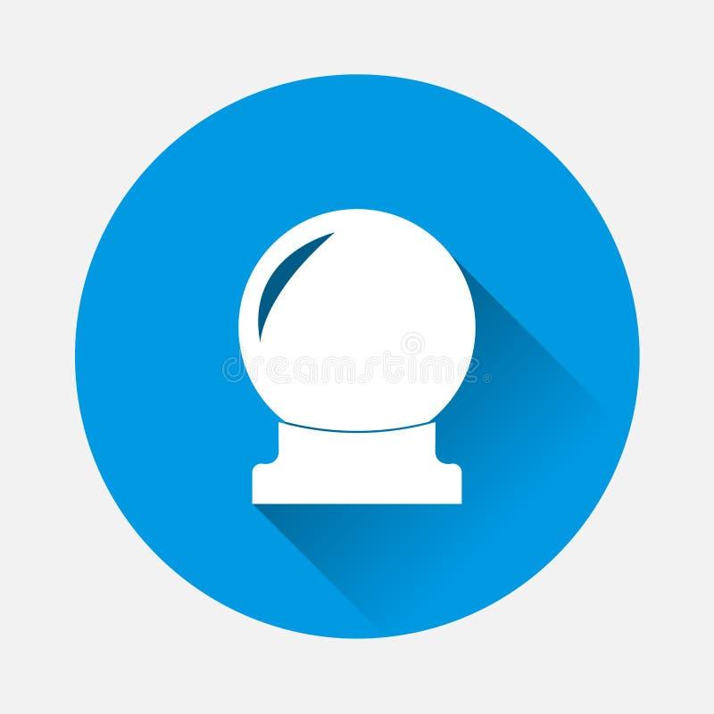Magisk bollvektorsymbol på blå bakgrund Plan imagesphere för stock illustrationer