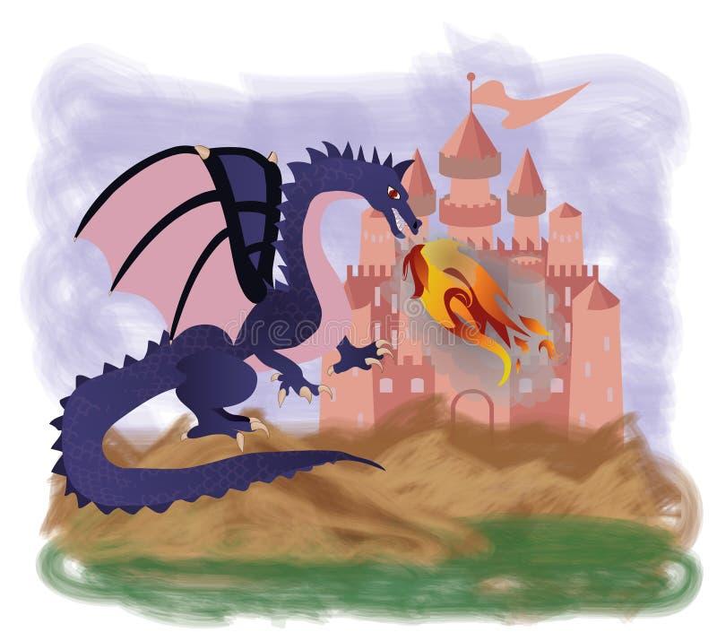 Magisk branddrake royaltyfri illustrationer