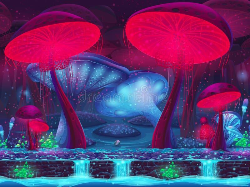 Magisk champinjonfördjupning - (sömlös) mystisk bakgrund, royaltyfri illustrationer