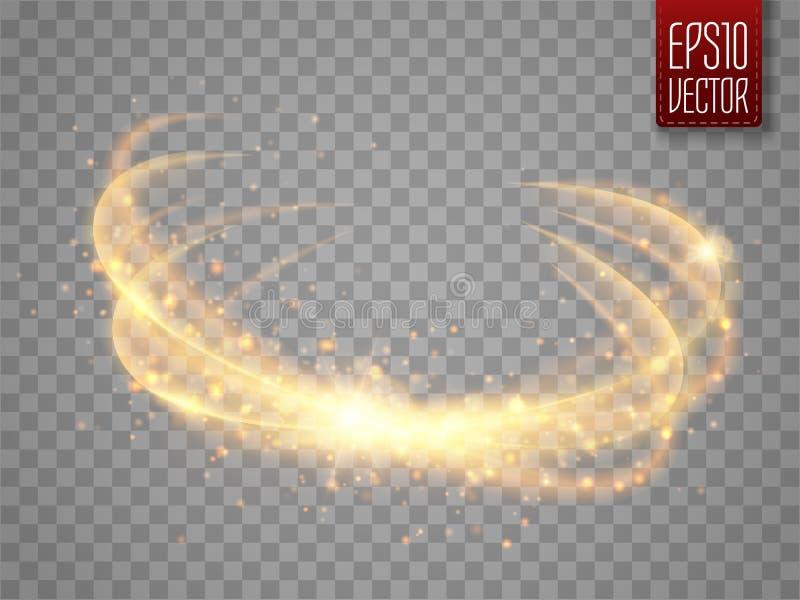 Magisk cirkel som isoleras på genomskinlig backgroun Vektorglödcirkel royaltyfri illustrationer
