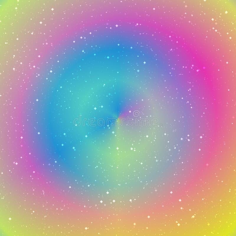 Magisk cirkelbakgrund Tunnelen för energiflöde i rosa färger, guling och blått royaltyfri illustrationer