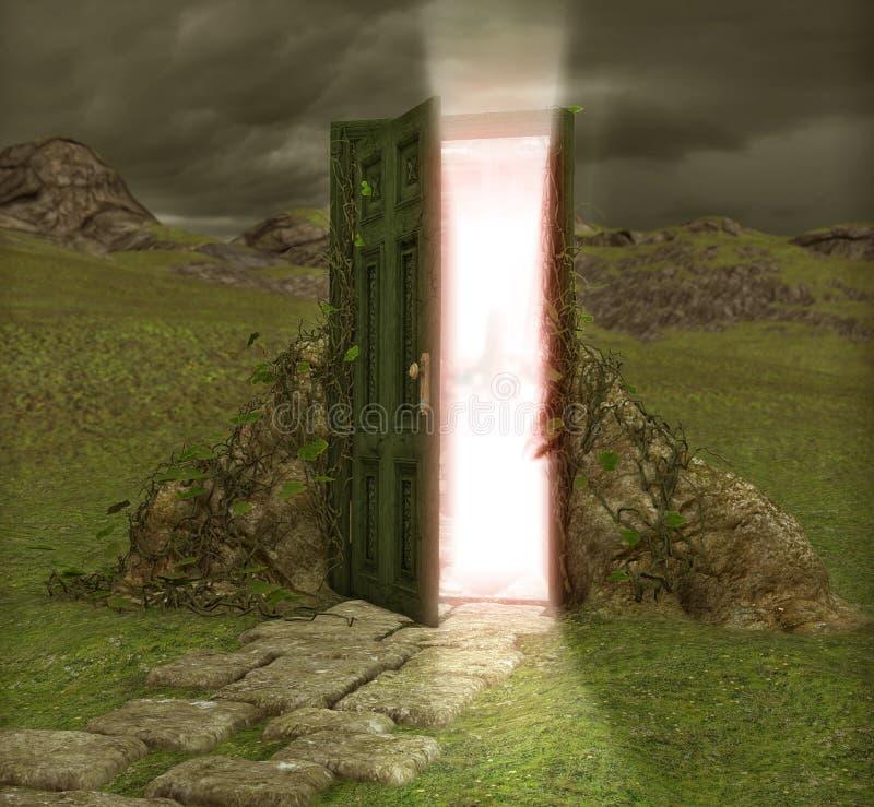 Magisk dörrdörröppning in i en annan värld royaltyfri illustrationer
