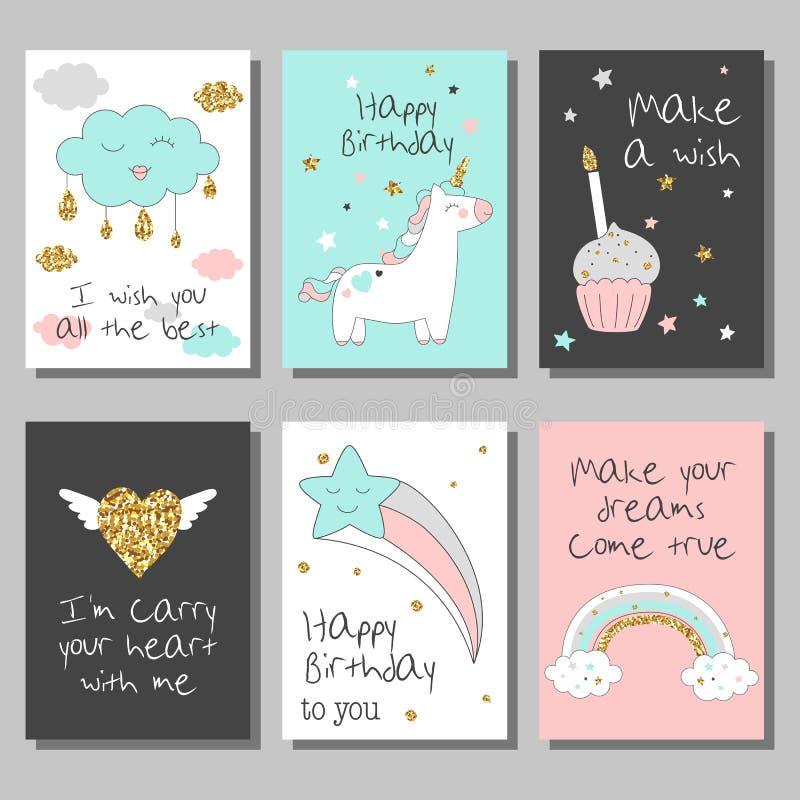 Magisk designkortuppsättning med enhörningen, regnbågen, hjärtor, moln och andra beståndsdelar royaltyfri illustrationer