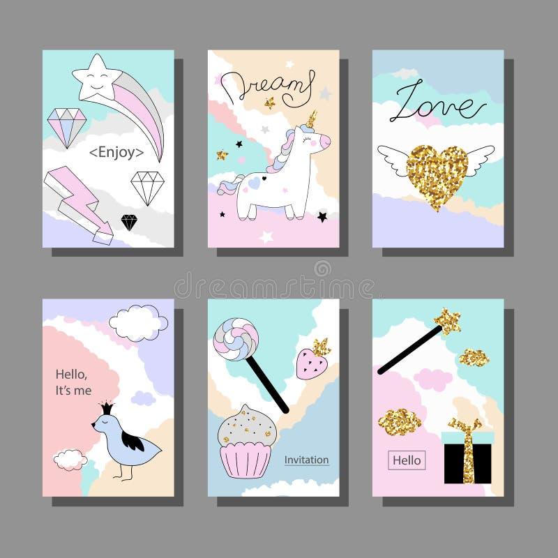 Magisk designkortuppsättning med enhörningen, regnbågen, hjärtor, moln och andra beståndsdelar stock illustrationer
