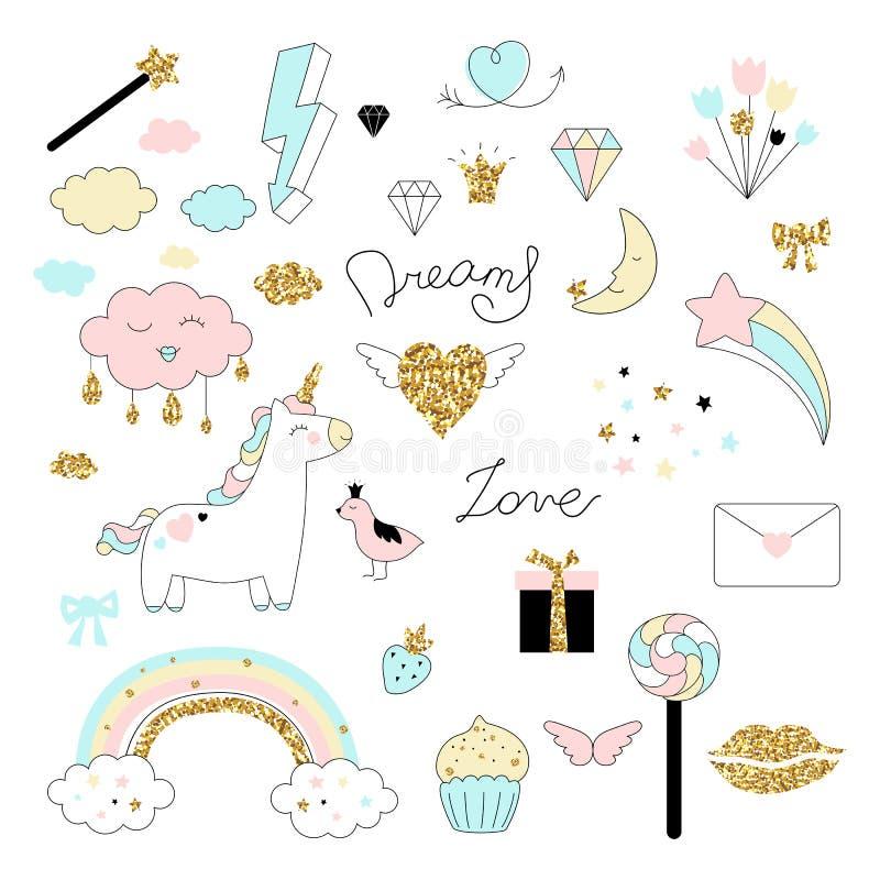Magisk designuppsättning med enhörningen, regnbågen, hjärtor, moln och andra beståndsdelar royaltyfri illustrationer