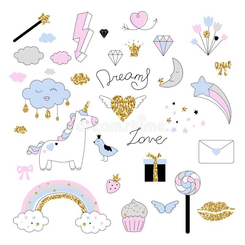Magisk designuppsättning med enhörningen, regnbågen, hjärtor, moln och andra beståndsdelar stock illustrationer