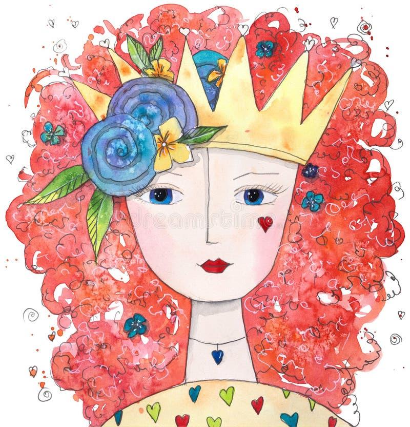Magisk drottning av förälskelse med hjärtor och blommor vektor illustrationer