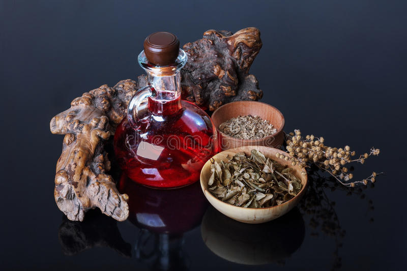 Magisk elixir, örter royaltyfria bilder