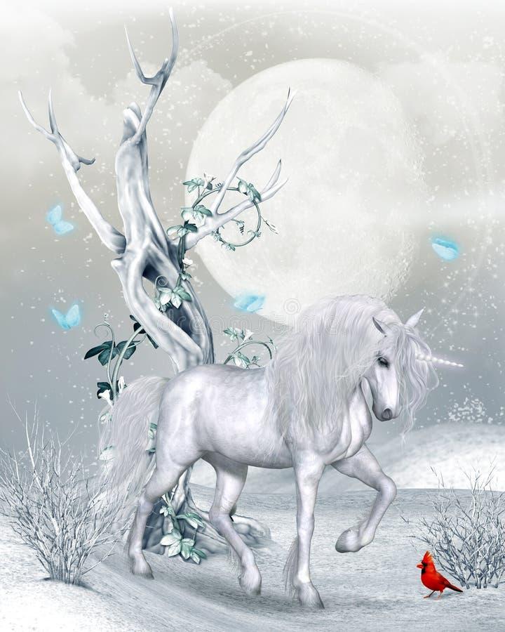 Magisk enhörning i vinterlandskap vektor illustrationer