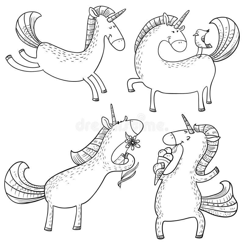 Magisk enhörninguppsättning Mistycal klotterhäst med havre som isoleras på vektor illustrationer