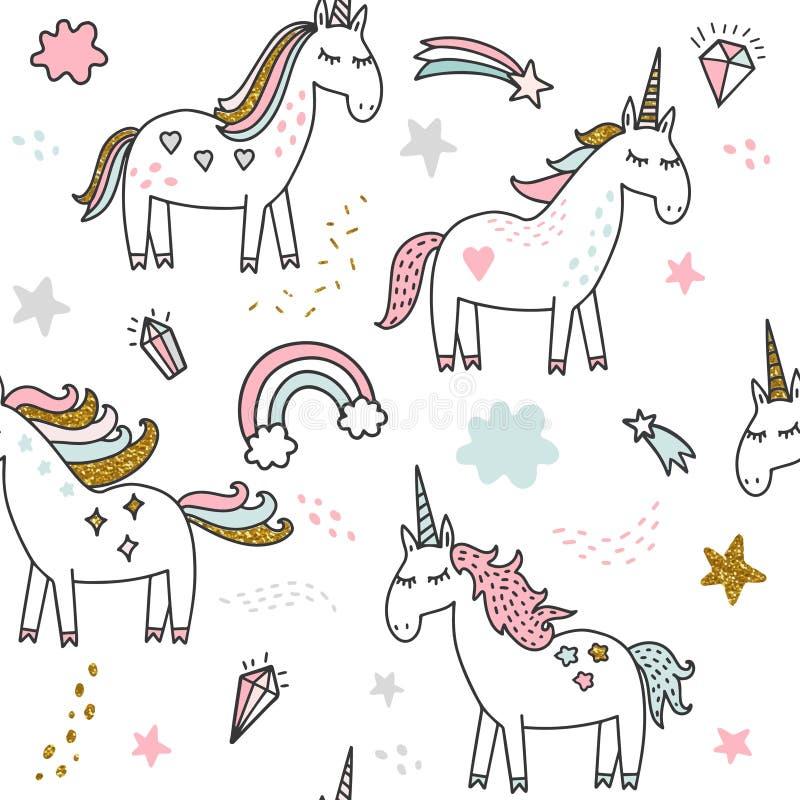 Magisk födelsedagillustration för enhörning royaltyfri illustrationer