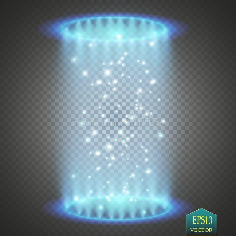 Magisk fantasiportal Futuristiskt teleport Ljus effekt Blått undersöker strålar av en nattplats med gnistor på ett genomskinligt royaltyfri illustrationer