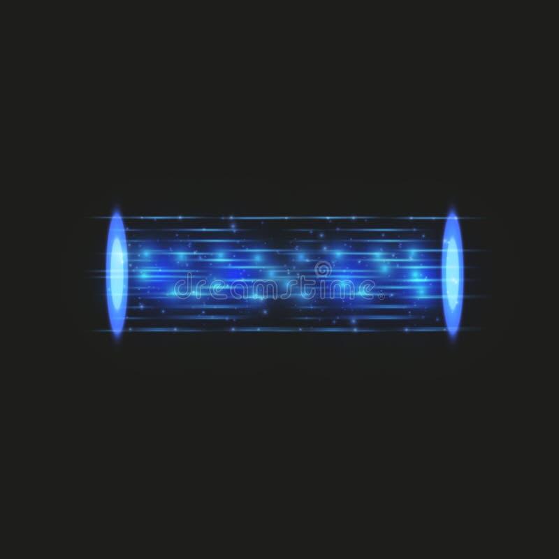 Magisk fantasiportal Futuristiskt teleport Ljus effekt Blått undersöker strålar av en nattplats med gnistor på ett genomskinligt stock illustrationer