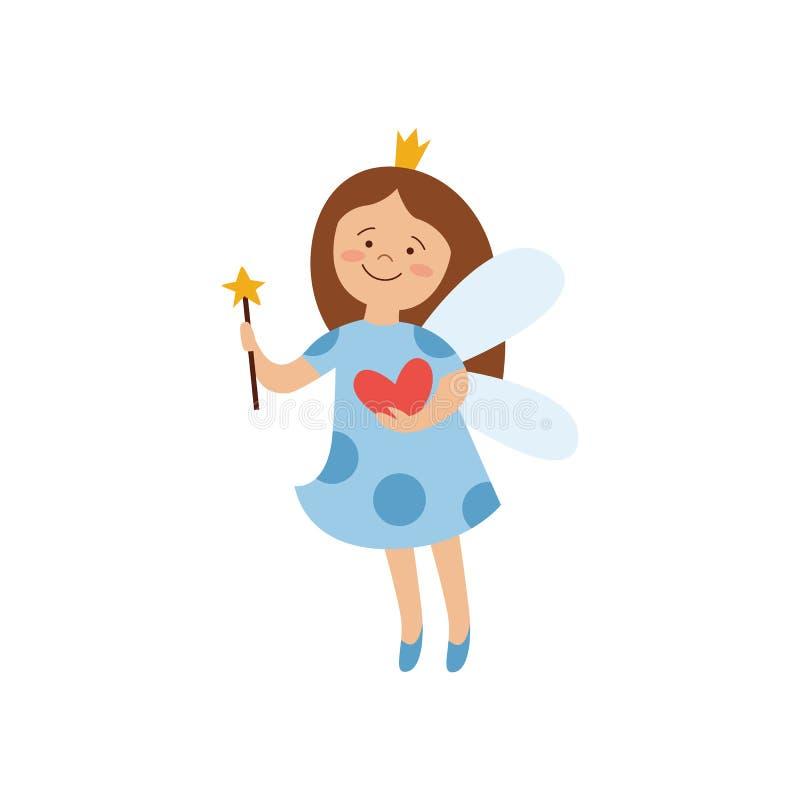 Magisk felik prinsessa i den blåa sjukhuskappan som rymmer en hjärta royaltyfri illustrationer