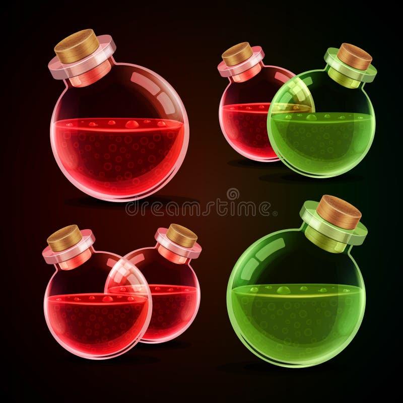 Magisk flaska med elexir stock illustrationer