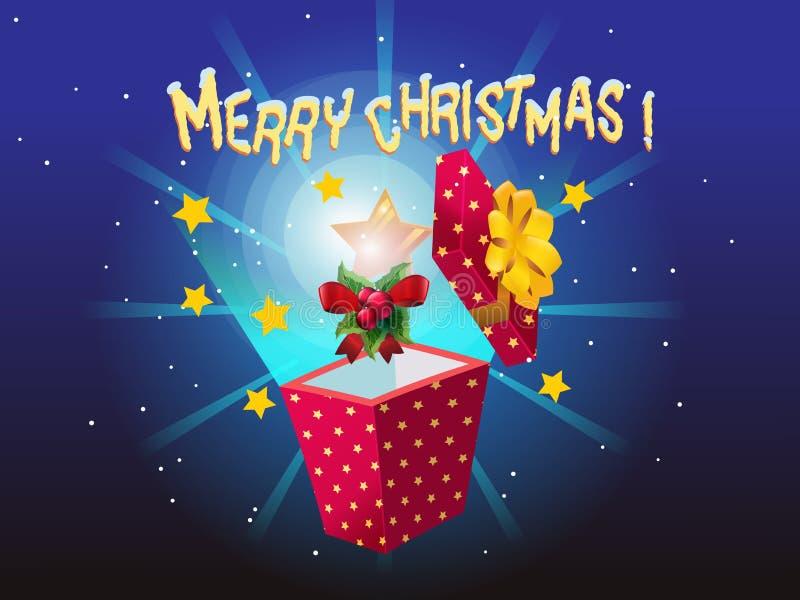 Magisk gåvaask för jul stock illustrationer