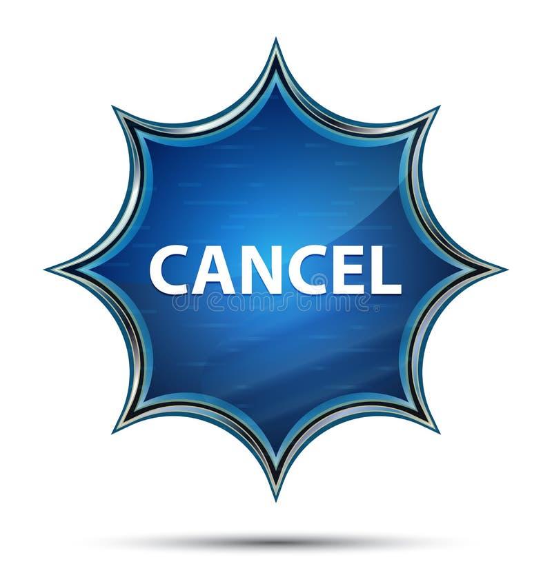 Magisk glas- sunburst blå knapp för annullering stock illustrationer