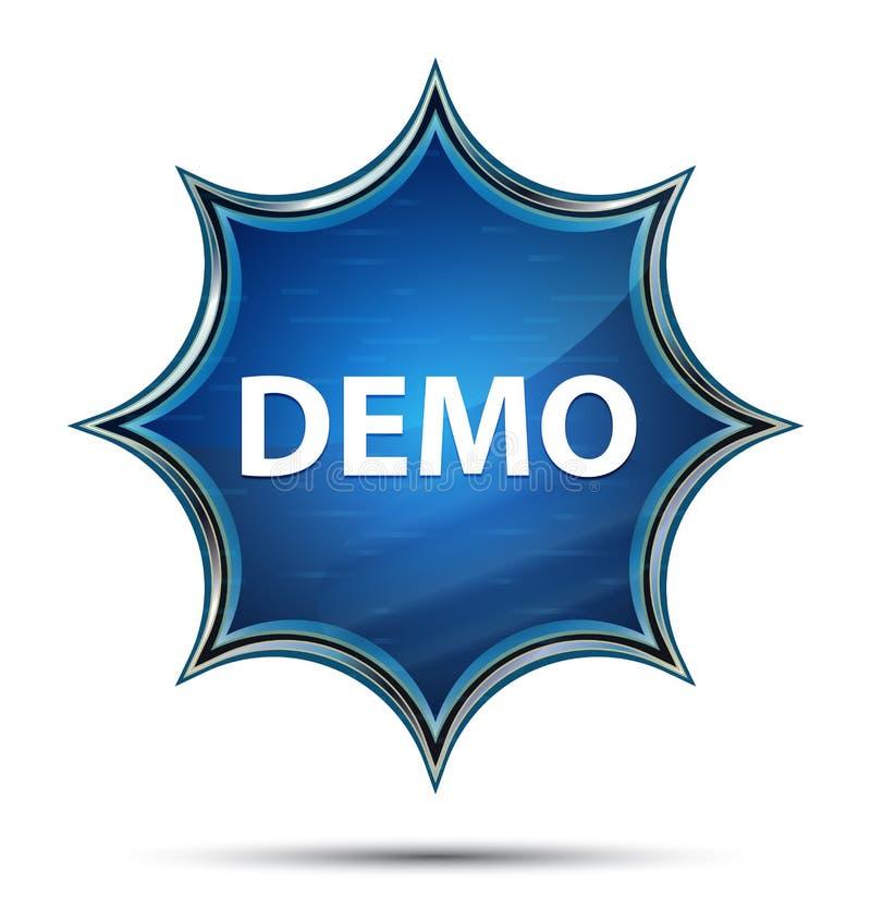 Magisk glas- sunburst blå knapp för demonstration vektor illustrationer