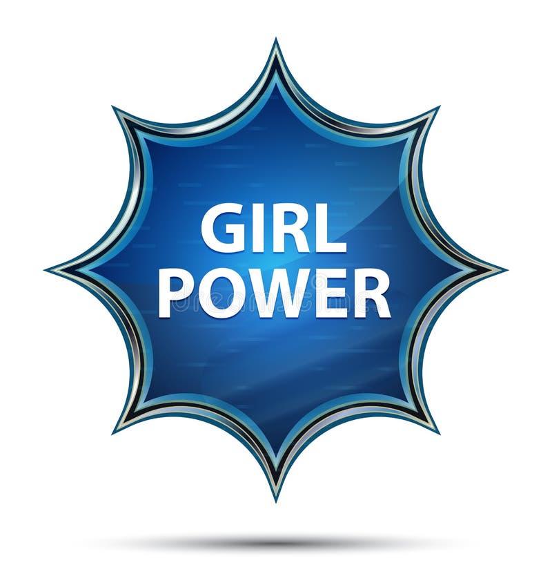 Magisk glas- sunburst blå knapp för flickamakt royaltyfri illustrationer
