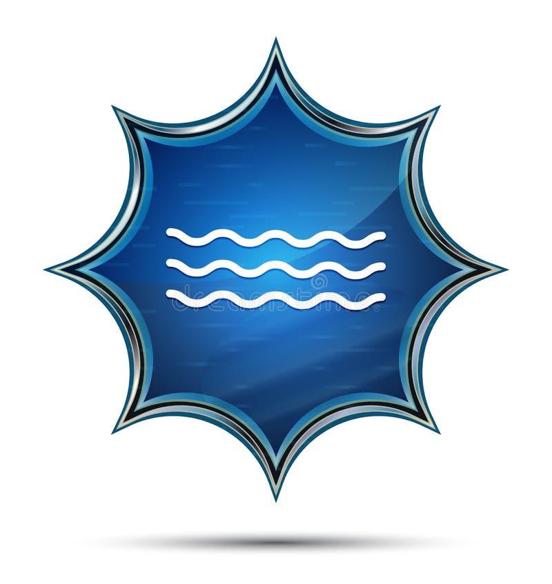 Magisk glas- sunburst blå knapp för havsvågsymbol vektor illustrationer