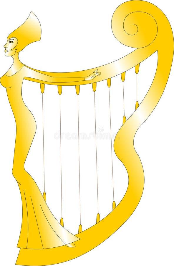 Magisk guld- harpa med konturn av en kvinna royaltyfri illustrationer