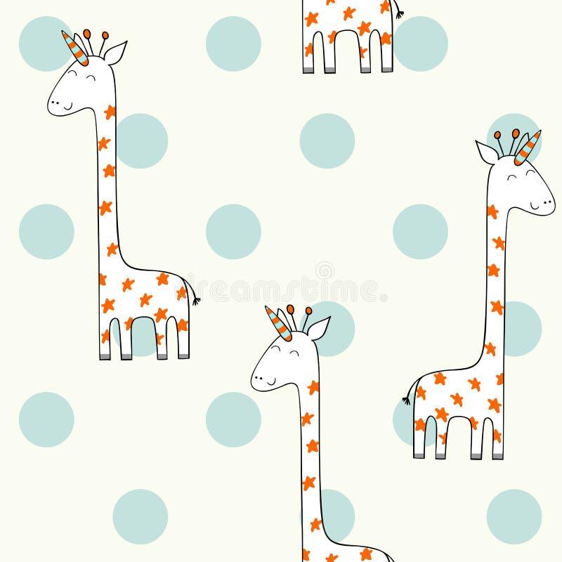 Magisk gullig giraff royaltyfri illustrationer