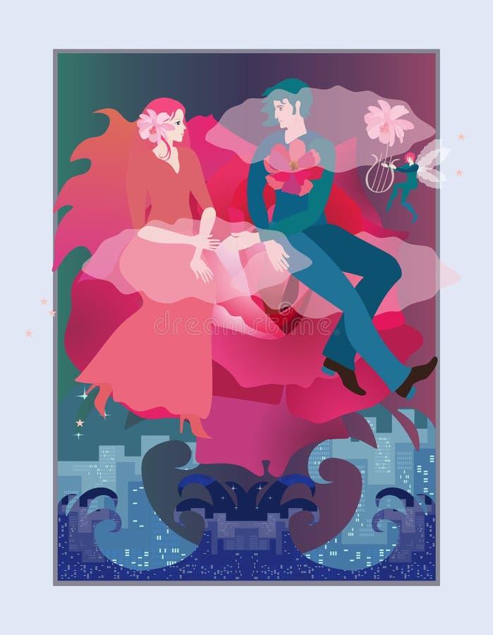 Magisk illustration med ett älska ungt parflyg på ett moln i form av en härlig ros över ett rasa hav bröllop stock illustrationer