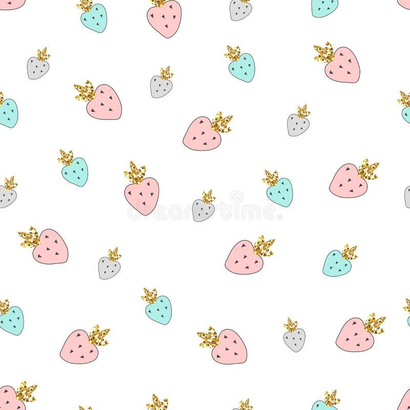 Magisk jordgubbar för modell för design sömlös drog färgrika hand stock illustrationer