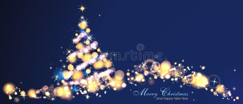 Magisk julbakgrund med stjärna- och julträdet royaltyfri illustrationer