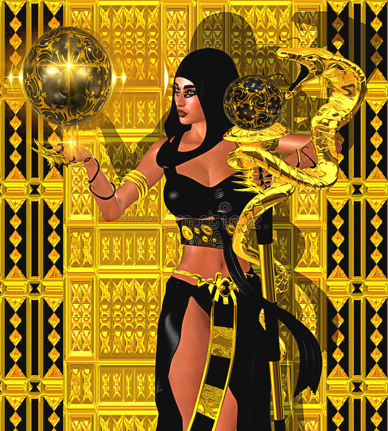 Magisk kvinna med den guld- ormen och den mystiska sfären av ljus Bära en svart huv och dräkt stock illustrationer