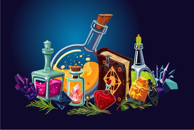 Magisk labb med fantasiobjekt Tecknad filmbakgrund med alkemiobjekt Elixir och dryckeskärlar royaltyfri illustrationer