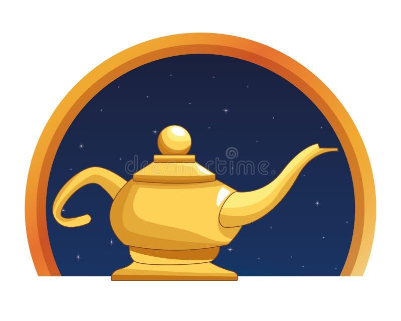 Magisk lampa i rund emblembakgrund stock illustrationer