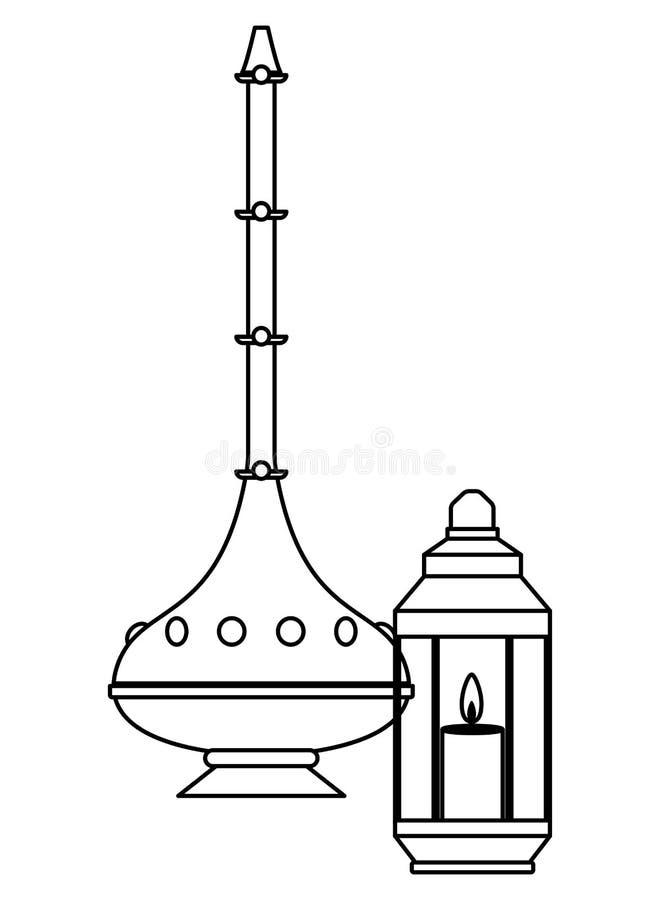 Magisk lampa med den antika bröstkorgen och lyktan med stearinljuset i svartvitt vektor illustrationer