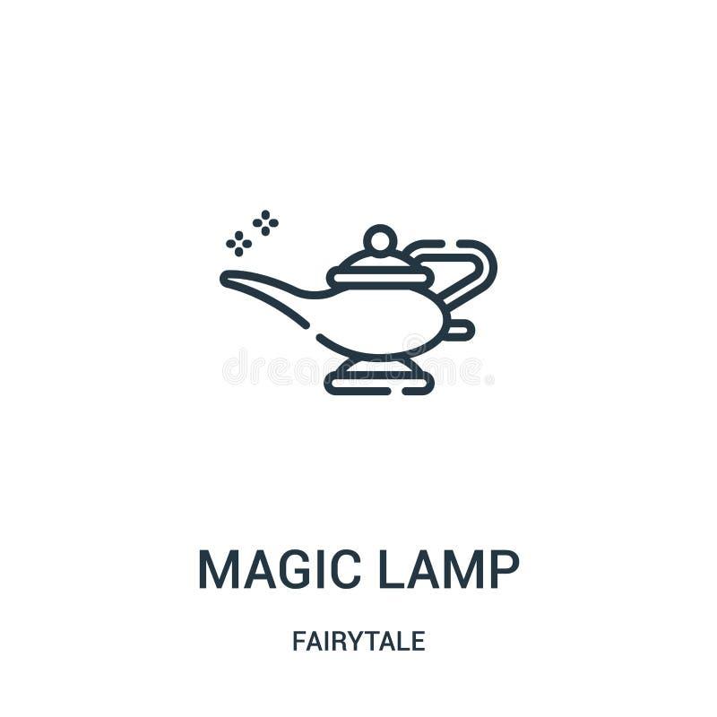 magisk lampsymbolsvektor från sagasamling Tunn linje magisk illustration för vektor för lampöversiktssymbol stock illustrationer