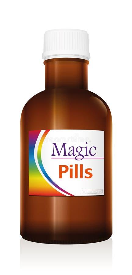 Magisk liten medicinflaska för preventivpillermedicinflaska royaltyfri illustrationer