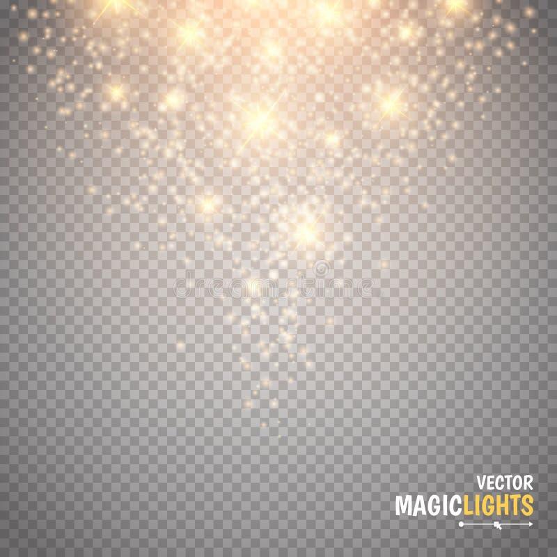 Magisk ljus effekt Den glödspecialeffektljus, signalljuset, stjärnan och bristningen gristrar royaltyfri illustrationer