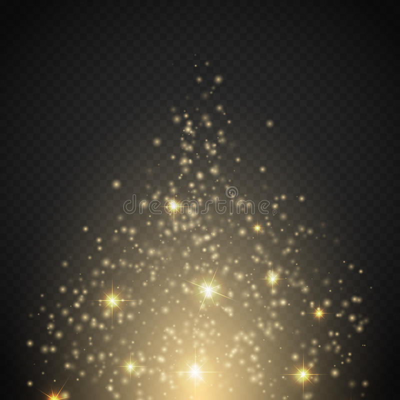 Magisk ljus effekt Den glödspecialeffektljus, signalljuset, stjärnan och bristningen gristrar vektor illustrationer