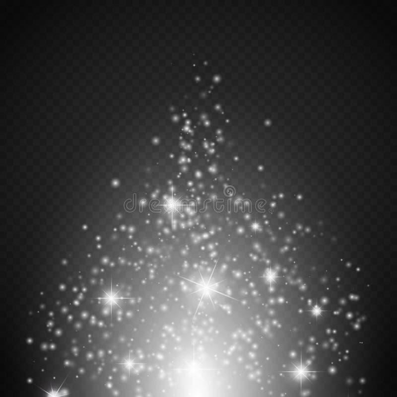 Magisk ljus effekt Den glödspecialeffektljus, signalljuset, stjärnan och bristningen isolerade gnistan vektor illustrationer