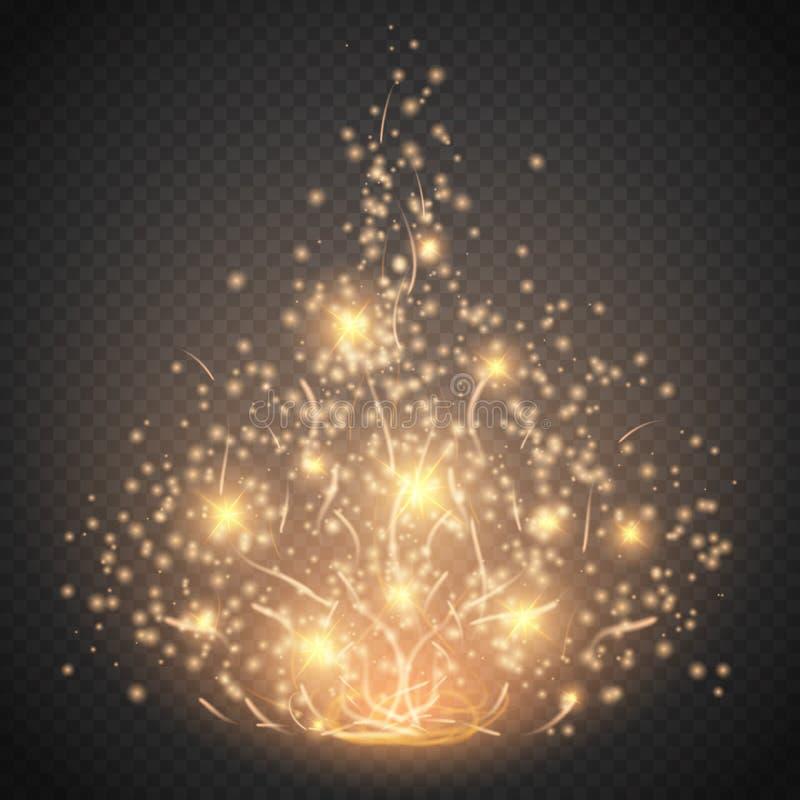 Magisk ljus effekt Den glödspecialeffektljus, signalljuset, stjärnan och bristningen isolerade gnistan stock illustrationer