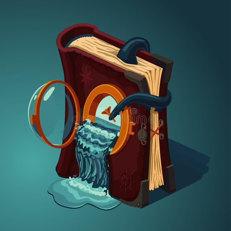 Magisk loppbok Tecknad filmstil Begrepp för modig design Dagbok av havresor vektor illustrationer