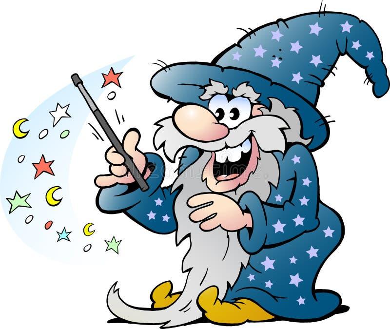 Magisk man för lycklig gammal trollkarl som rymmer en trollstav vektor illustrationer