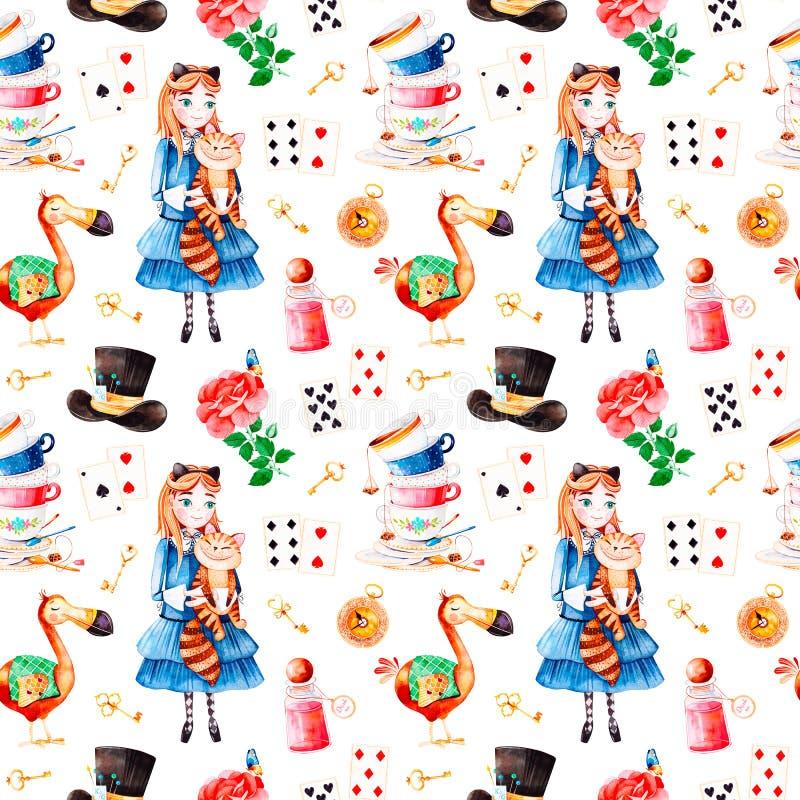 Magisk modell med den älskvärda rosen som spelar kort, hatten, den gamla klockan och guld- tangenter, ung flicka royaltyfri illustrationer
