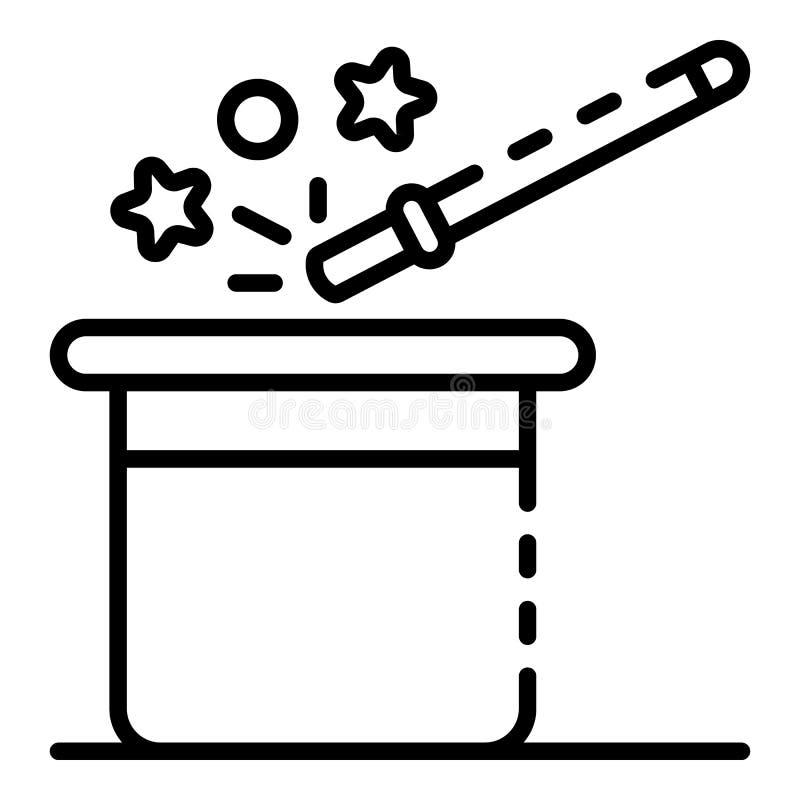Magisk musikbandhattsymbol, översiktsstil vektor illustrationer