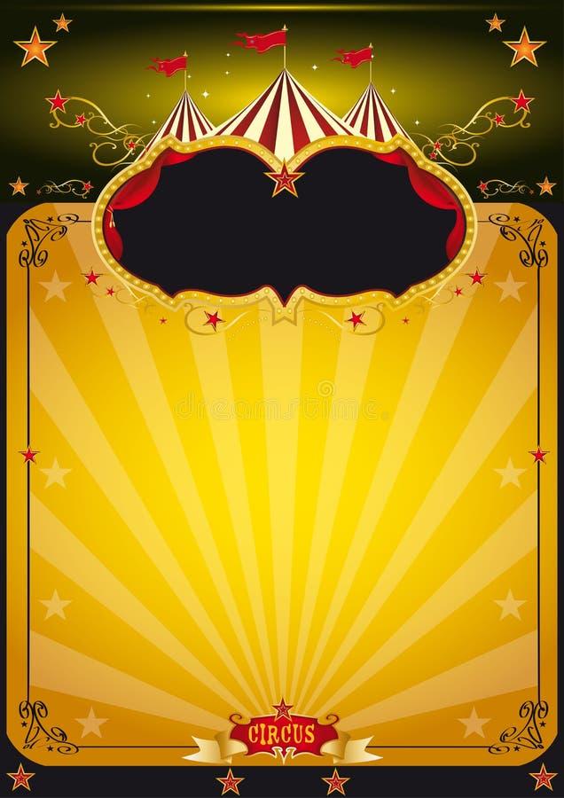 magisk orange affisch för cirkus stock illustrationer