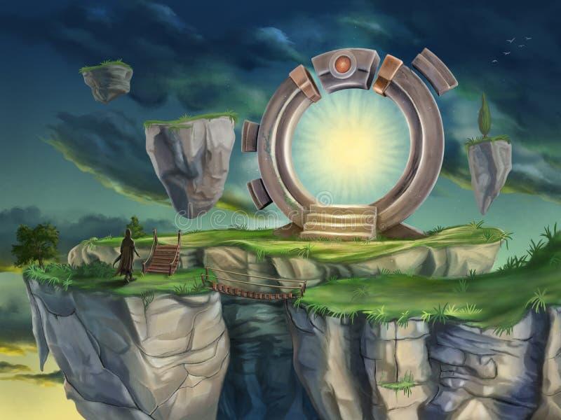 Magisk portal i ett overkligt landskap royaltyfri illustrationer