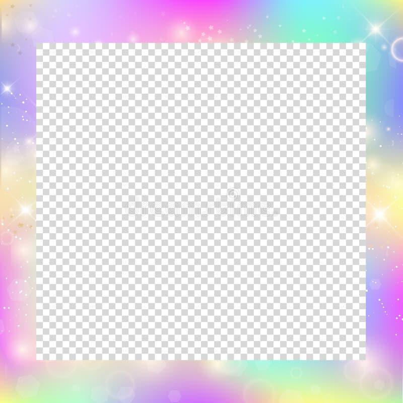 Magisk ram med regnbågeingreppet och utrymme för text stock illustrationer