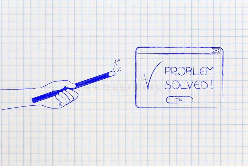 Magisk sår med det lösning fann pop-uppmeddelandet vektor illustrationer